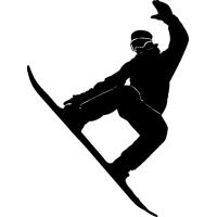 Сноубордист с поднятой рукой