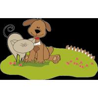 Собака и кот на лужайке
