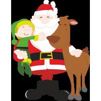 Дед Мороз, эльф и олень