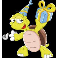 Черепаха с подарком