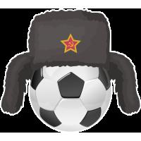 Футбольный мяч в советской шапке ушанке