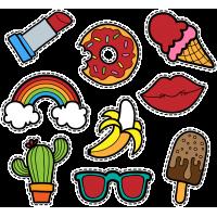 Тату Набор Веселые Стикеры Банан Кактус Губы Мороженое Очки