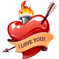 Тату Сердце I Love You Стрела Огонь
