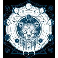 Медведь Космический Эзотерический Геометрический Расписной Хипстер