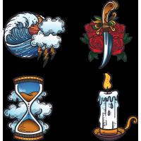 Набор Винтажные Стикеры Свеча Песочные Часы Нож Цветы Шторм Волна