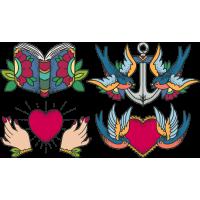 Набор Винтажные Стикеры Книга Якорь Сердце Птицы